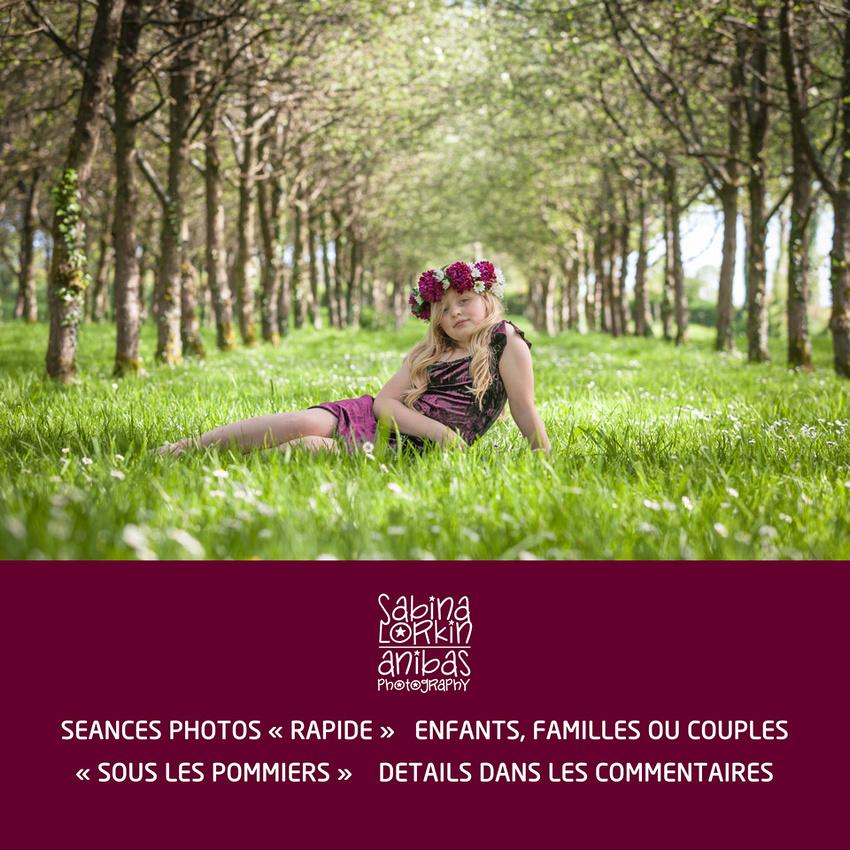 Découvrez les détails des séance photos rapide en Normandie « Sous les pommiers » en mai.